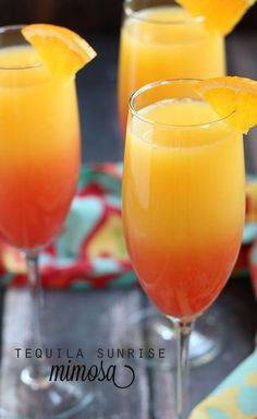 Tequila Sunrise Mimosa - Made with tequila, champagne, orange juice and grenadine. Tequila Sunrise Mimosa made with tequila, champagne, orange juice and grenadine. Party Drinks, Cocktail Drinks, Tequila Drinks, Alcoholic Beverages, Mimosa Party, Alcoholic Shots, Vodka Cocktails, Good Cocktails, Orange Juice Alcoholic Drinks