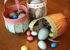 DIY Easter Baskets | Cosmo Cricket--doublesided paper and a stapler.