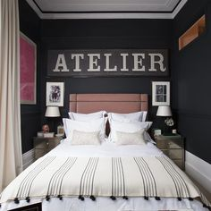 Railings & All White by Farrow & Ball create a dramatic look for this bedroom Pink Headboard, Velvet Headboard, Studded Headboard, Headboards, Black Bed Linen, Bed Linen Design, Luxury Bedding Sets, Geometric Pillow, Bedroom Accessories