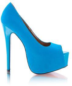 DeeZee - blue platform peep toe courts