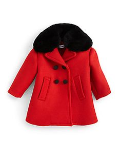 Dolce & Gabbana Infant's Fur-Collar Wool Coat