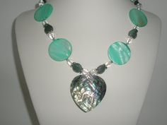 Mint  Green mother of pearl necklace with abalone shell by yasmi65, $28.00