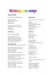 English worksheet: Kindergarten songs