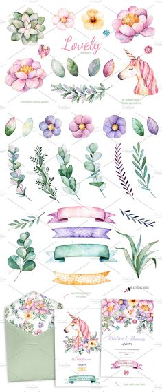 Lovely Flowers&Unicorn by Kate_Rina on @creativemarket