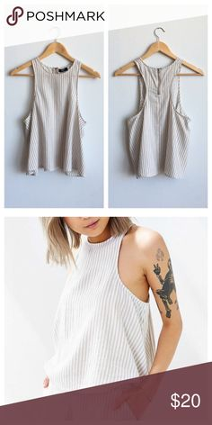 BDG Circle Tank BDG Circle Tank - Size M. Light cream stripes, loose cut tank featuring back neck zipper closure. 55% Linen/45% Rayon. Matching shorts sold separately, but can be bundled! Urban Outfitters Tops Tank Tops