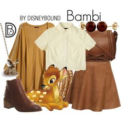 Bambi by leslieakay on Polyvore featuring Samantha Pleet, H&M, New Look Inspire, Office, Dorothy Perkins, Chan Luu, Splendid Pearls, disney, disneybound and disneycharacter