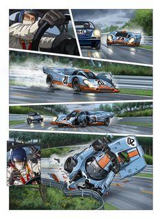 Steve McQueen in Le Mans (English version) Street Racing Cars, Sports Car Racing, Steve Mcqueen, Ford Gt Le Mans, Course Automobile, Porsche Motorsport, Car Illustration, Car Posters, Futuristic Cars