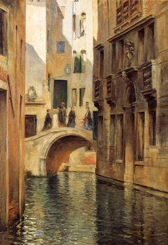 ~ Julius LeBlanc Stewart ~ American artist, 1855-1919: Venetian Canal