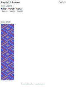 Royal Peyote Stitch Cuff Bracelet Free Pattern and Word Chart