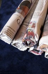 I chose this because there is usually no shortage of newspaper and as the children are building with the newspaper they are subtly interacting with reading and writing -Preschool Construction & Sculpture Activities: Construct Newspaper Building Blocks