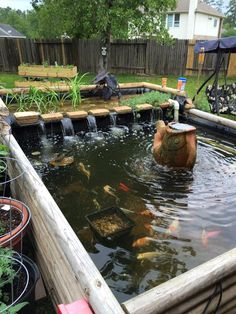 Modern Diy Garden Pond Waterfall Ideas For Backyard 50 Fish Ponds Backyard, Koi Fish Pond, Koi Ponds, Outdoor Fish Ponds, Patio Pond, Outdoor Fountains, Garden Ponds, Fish Pond Gardens, Bog Garden