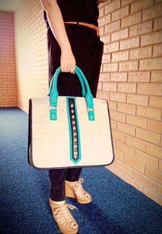 Alice's Felt Bag. Light Grey Blue
