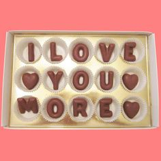 I Love You More Large Milk Chocolate Letters-Romantic Anniversary Valentines Day Gift for Her Him Men Women-Made to Order. $24.99, via Etsy.