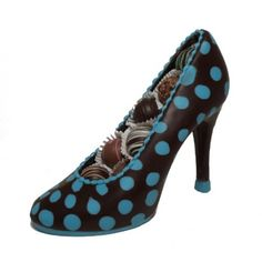 From the newest line of Enjou Signature shoes. Beautiful chocolate pump decorated with blue polka dots and filled with assorted Enjou truffles. 7 in. high.
