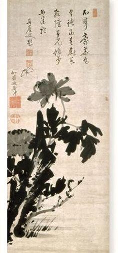 瓢箪・牡丹図. Peonies. Itō Jakuchū. Japanese hanging scroll. Eighteenth century.