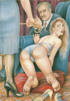 In some domestic situations stricter measures were considered to be the best form of punishment. This included the cane on the bottom. It was considered appropriate for fathers or mothers to admonish their daughters sometimes wearing just their underwear