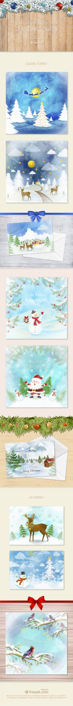 Free Watercolor Christmas Cards (print-ready)