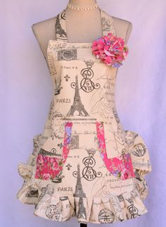 Paris Script Print Womens Full Apron French by OliviabyDesign, $36.00