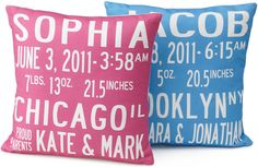 10 Handmade Baby Shower Gift Ideas  . Baby Announcement Pillows from Uncommon Goods