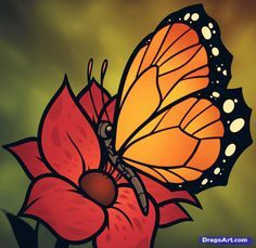 How to Draw a Butterfly on a Flower, Butterfly and Flower, Step by Step, Butterflies, Animals, FREE Online Drawing Tutorial, Added by Dawn, July 29, 2012, 6:00:20 pm