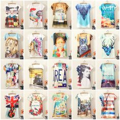 Vintage Casual Women Short Sleeve Graphic Printed T Shirt Tee Blouse Tops Tees | eBay