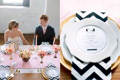 modern pink, gold, black and white wedding reception table with chevron napkins   photo: www.paperantler.com