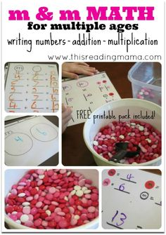 Math for Multiple Ages with m & m candy ~ counting and writing numbers, addition, and multiplication {FREE printable pack included!} | This Reading Mama