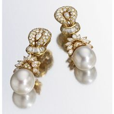 A PAIR OF 18 KARAT GOLD, CULTURED PEARL AND DIAMOND PENDANT-EARCLIPS set with round, baguette, marquise-shaped and pear-shaped diamonds weighing approximately 7.50 carats, suspending cultured pearls measuring approximately 15.3 by 15.0 mm.