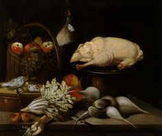 Natura morta con verdure, frutti e una oca spennata