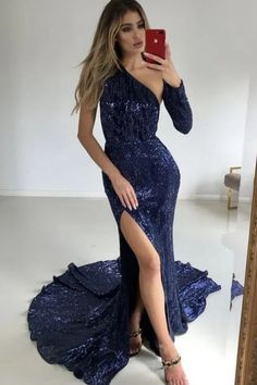 Mermaid One-Shoulder Long Sleeves Navy Blue Sequined Split Prom Dress, SRS, This dress could be custom made, there are no extra cost to do custom size and color. Split Prom Dresses, Best Prom Dresses, Beautiful Prom Dresses, Prom Dresses Online, Mermaid Prom Dresses, Homecoming Dresses, Girls Dresses, Flower Girl Dresses, Formal Dresses
