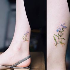 Tiny rosemary tattoo on the ankle.