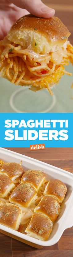 Spaghetti Sliders are the best thing you never thought to do with spaghetti. Get the recipe from Delish.com.
