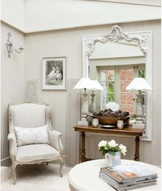 Shabby & Charme ~ Other side of room Shabby Chic Interiors, Shabby Chic Homes, Shabby Chic Furniture, Shabby Chic Decor, Rustic Decor, Style At Home, French Country Living Room, Decor Inspiration, Shabby Vintage