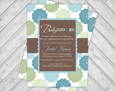 Green, Blue and Brown, Boy Baby Shower Invitations, Baby Sprinkle Invite, Flowers, DIY Printable or Printed (876) on Etsy, $15.00