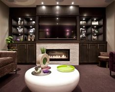 interesting entertainment wall units with fireplace: entertainment-wall-units-with-fireplace-corner-fireplace-tv-stand-built-in-tv-wall-cabinet-with-ceiling-recessed-lights-modern-distressed-leather-couch-white-round-coffee-table Fireplace Wall, Fireplace Design, Fireplace Ideas, Linear Fireplace, Basement Fireplace, Media Fireplace, Ethanol Fireplace, Modern Fireplaces, Fireplace Surrounds