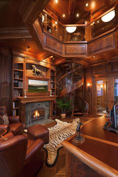 Traditional Home Office Design Ideas, Pictures, Remodel and Decor Casa Retro, Log Cabin Homes, Log Cabins, Small Cabins, Staircase Design, Staircase Ideas, Grand Staircase, Home Office Design, Library Design