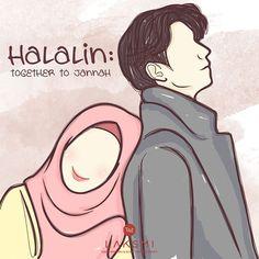 "HALALIN : TOGETHER TO JANNAH  Lelaki idaman itu bukan sekedar menanyakan ""kenapa kamu menangis"", tapi lelaki idaman itu cirinya adalah yang menyediakan tempat yang paling nyaman untuk menangis Dan pundak adalah tempat ternyaman bagi wanita saat menangis Bagi kamu yang ingin menjadi idaman wanita, kelak saat istrimu menangis sediakanlah pundakmu untuknya agar ia merasa nyaman dan terlindungi Muslim Family, Muslim Couples, Couple Drawings, Love Drawings, Romantic Couples, Cute Couples, Hijab Drawing, Islamic Cartoon, Anime Muslim"