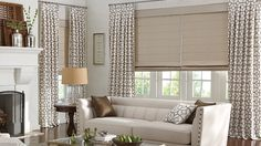 Draperies with Box Pleat: Trusses, Truffle 3601. Classic Flat Roman Shades with Standard Cord Control and Standard Fabric Valance: Glacé, Fossil 3402.  Costco