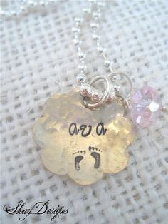 Stamped Personalized Scalloped Edge Pendant by ShayDesignsJewelry, $12.00