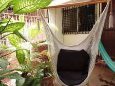 Grey Color Sitting Hammock, Hanging Chair Natural Cotton and Wood. $39.00, via Etsy.