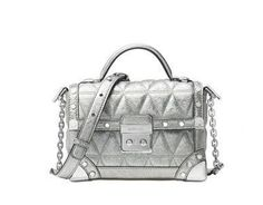 b371b68734bc4 Michael Kors Cori Small Trunk Bag Pyramid Quilted Metallic Leather Pewter  for sale online