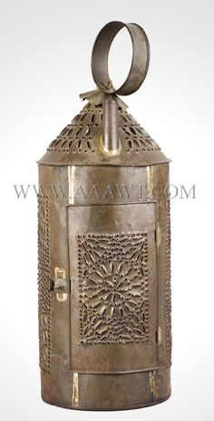 Main House Antiques Galleries -  Large 22 inch. Punched Tin Lantern. Selling for $695