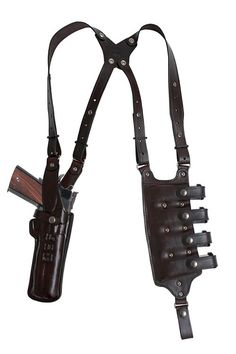Vertical Double Shoulder and Quad magazine carrier Rig, Military & Law Enforcement Shoulder Holster 1911 Holster, Gun Holster, Weapons Guns, Guns And Ammo, Custom Leather Holsters, Leather Projects, Rifles, Tactical Gear, Leather Working