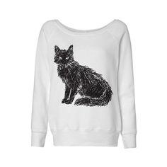 Wideneck - Scribbled Black Cat - Oversized Sweatshirt Sweater Jumper Pullover Ladies Womens Slouchy Outfit by TeesAndTankYouShop on Etsy https://www.etsy.com/listing/240598890/wideneck-scribbled-black-cat-oversized