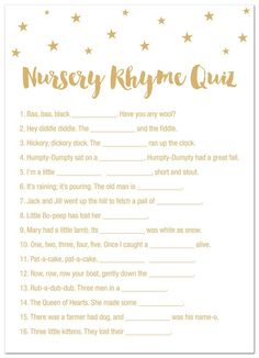 24 Cnt Gold Stars Baby Shower Nursery Rhymes Quiz