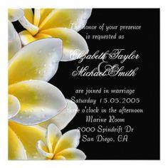 Luxury Yellow Romantic Plumeria Wedding Invite