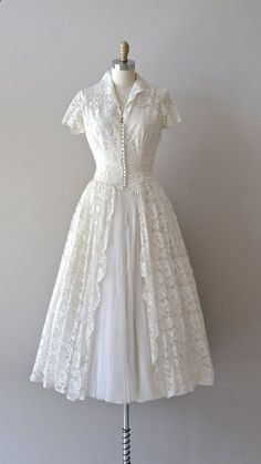 lace 50s vintage wedding dress / 1950s wedding dress / First Waltz wedding dress. How I do love pretty, simply elegant, modest wedding dresses, though this one would serve other special occasions, as well.