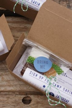 LOVE the invitation in a box with treats. hand deliver to kids. :)  Oh So Beautiful Paper: Gavin's Camping-Inspired Birthday Party Invitations