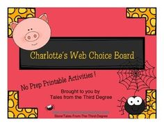 Fall is in the air! Your students will love to hear the timeless favorite, Charlotte's Web, and work on these Choice Board activities! I use Choice Board activities to provide meaningful projects for students to do while I meet with individuals or small groups.