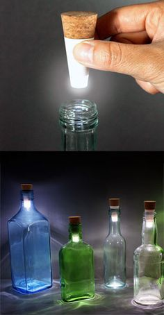 Cool Kitchen Gadgets - Add a touch of class to any event with the Bottle Light by Steve Gates. These rechargeable LED lights fit into your old bottles and create perfect mood lighting for a romantic dinner or outdoor party. Gadgets And Gizmos, Cool Gadgets, Bottles And Jars, Glass Bottles, Diy Luminaire, Lumiere Led, Mood Light, Ideias Diy, Luz Led